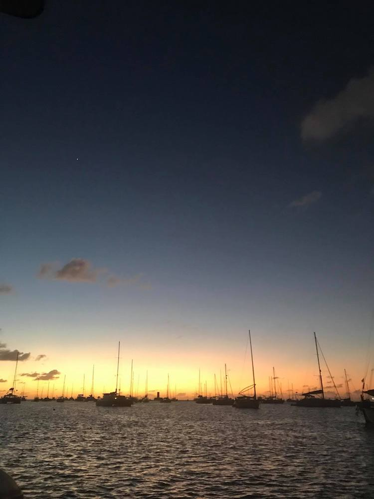 Caribbean sunset while boat sitting