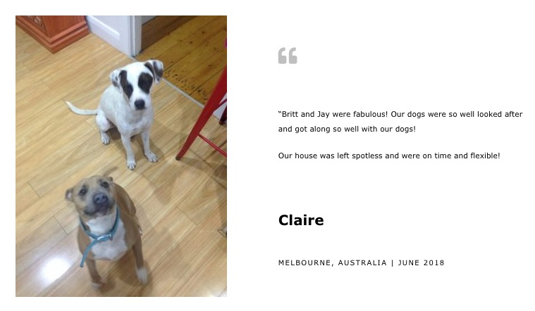 House Sitting Melbourne Reference from Claire